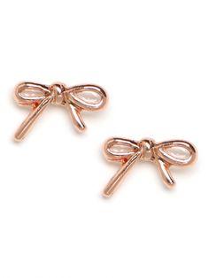 Ribbon Stud Earrings in Rose Gold - Bauble Bar invitation code: 35808