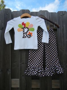 Turkey Initial Ruffle Pant Set - sizes 6m-5T......SUPER Cute for THANKSGIVING. $40.00, via Etsy.