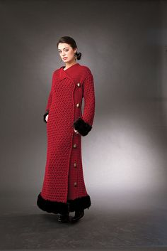"Budapest Nights - This is the faux fur trimmed coat that I designed for my new book ""Crochet It Love It Wear It"" (Leisure Arts Sept 2010). Now available: Crochet It Love It Wear It - The Ultimate Collection for Any Occasion by Drew Emborsky, aka The Crochet Dude(r)"