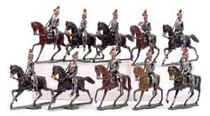Heyde or Similar German Maker - 28mm Scale Royal Horse Guards, circa, 1900, comprising: 9 x Mounted [3 horse tails missing] Royal Horse Guards with Drawn Sabres. Some paint loss otherwise generally Fair to Good overall. [18 pieces]