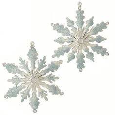 Frozen style snowflake ornaments, blue and white snowflake ornament, RAZ 3551059, Enchanted Holiday Whimsy