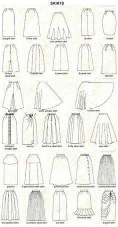 Skirts Types, Dress Types, Types Of Dresses Styles, Different Dress Styles, Patterns For Dresses, Plus Size Patterns, Sewing Patterns, Fashion Terminology, Fashion Terms