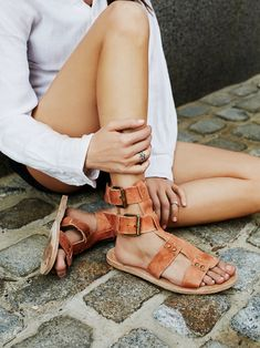 Carlyn Mid Gladiator Sandal | Washed leather gladiator sandals