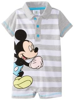 Disney Baby Baby-Boys Newborn Grey Heather Mickey Mouse Striped Romper:Amazon:Clothing