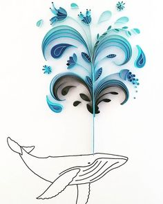 My whale quill remade (a lot better) and now to fit a smaller frame  #quilling #papercutting #paperflowers #paperart #whaleart #whale #humpbackwhale #art_we_inspire #arrtposts #artistic_unity_#craftspire