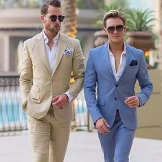 Custom Made Summer Blue Men Suits Business Man Outfits Wedding Tuxedo Khaki Groom Wear Costume Homme Slim Fit Terno Masculino Preppy Mens Fashion, Mens Fashion Suits, Mens Suits, Style Fashion, Fashion Design, Blue Suit Men, Mens Cream Suit, Cream Suits For Men, Man Stuff