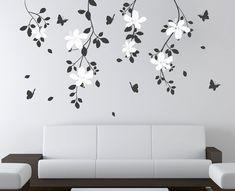 Natural Tree Branch Flowers Butterflies Decals by DecaIisland