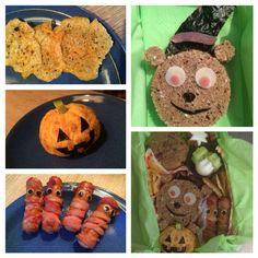 Lunch Box - Süßes, sonst gibts Saures! - selbstgemachte Käsecracker / Mandarinen-Kürbis / Würstchen-Mumien / Teddy mit Hexenhut / dazu Himbeermuffin, Zimtsterne, Sterne aus Gurke und Ei
