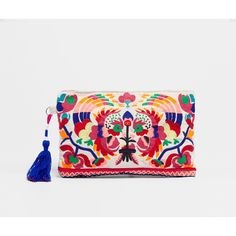 Cockerel embroidered clutch - OYSHO (€75) ❤ liked on Polyvore featuring bags, handbags, clutches, embroidery purse, oysho, embroidery handbags, embroidered handbags and embroidered purse