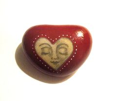 Hand painted Heart face Art stone/paperweight by SeeQueenStones, £8.00