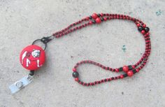 Georgia Bulldogs Beaded Lanyard Red and by TheLanyardNecklace, $30.00