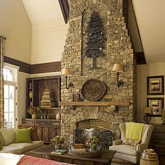 Lights mounted on stone fireplace. Driven By Décor: Five Important Decisions in Designing a Stone Veneer Fireplace