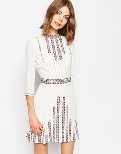 Image 1 ofASOS Premium Embroidered Pretty Folk Skater Dress