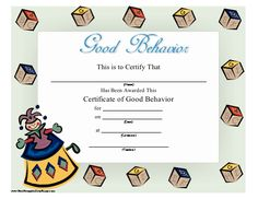 A certificate to be presented to a child displaying good behavior. It is full-color, with a jack-in-the-box and blocks. Free to download and print