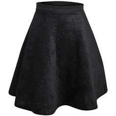 Black Floral Embossed Flared Skater Skirt ($25) ❤ liked on Polyvore featuring skirts, black, floral skirt, knee length pleated skirt, skater skirt, circle skirt and floral skater skirt