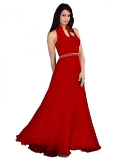 Colour Red Fabric Georgette, Velvet Inner Fabric Santoon Occasion Reception, Party Size Medium Type Gown