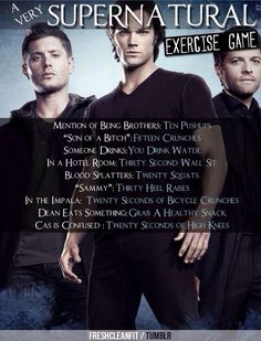 mini workout for an episode of Supernatural. It would work if I watch the show Supernatural Workout, Supernatural Memes, Tv Show Workouts, Song Workouts, Cheer Workouts, Morning Workouts, Workout Music, Super Natural, Superwholock