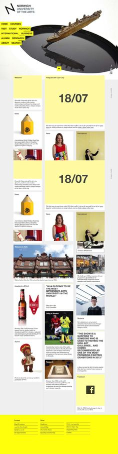 Norwich University of the Arts Website | Grid Layout in Web Design