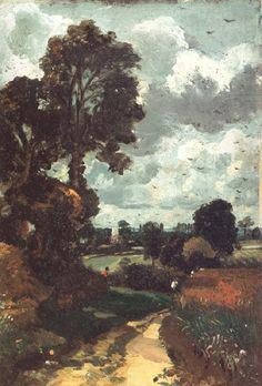 A country lane,with a church in the distance, John Constable