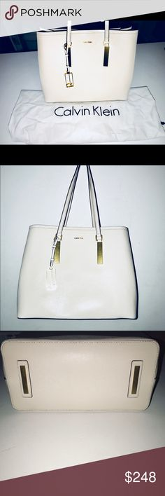 Calvin Klein - Galey Steffiano Leather Tote White An exclusive Calvin Klein tote, no longer available online. * NO TRADES. POSHMARK RULES ONLY. Accepting offers. Never used. Calvin Klein Bags Totes