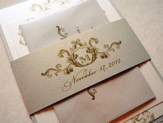 Ivory, Champagne and Gold Wedding Invitations, Elegant Wedding Invitations, Champagne, Gold, Beige, Ivory, Victorian, Vintage by WhimsyBDesigns on Etsy https://www.etsy.com/listing/118289010/ivory-champagne-and-gold-wedding