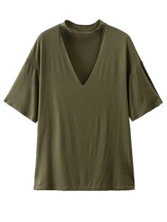 SHARE & Get it FREE | Choker Drop Shoulder T-Shirt - Greyish GreenFor Fashion Lovers only:80,000+ Items • New Arrivals Daily Join Zaful: Get YOUR $50 NOW!