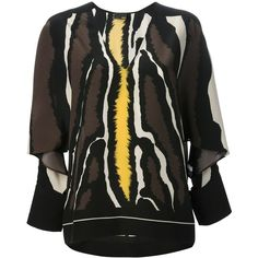 FENDI animal print batwing blouse ($760) found on Polyvore