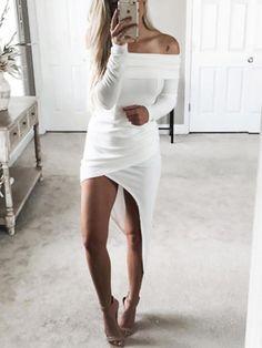 Long Back Off Shoulder Casual Dress