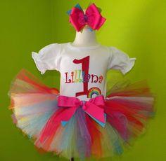 #MC Rainbow Number Birthday Tutu Outfit by PoshBabyStore.com