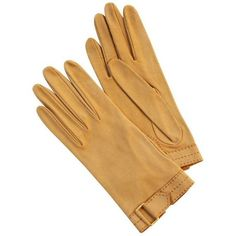 Preowned Hermes Vintage Tan Leather Gloves With Wrist Buckle Detail... ($395) ❤ liked on Polyvore featuring accessories, gloves, brown, leather palm gloves, palm gloves, real leather gloves, hermès and brown gloves