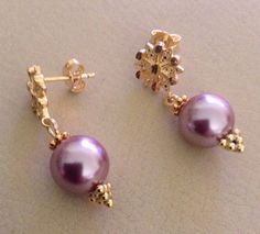 Sterling Silver Gold Plated Earrings with Pink by OlhodeShivaJoias