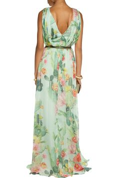 Matthew Williamson Woman Pleated Floral-print Silk-chiffon Gown Yellow Size 8 Matthew Williamson 2DY1R