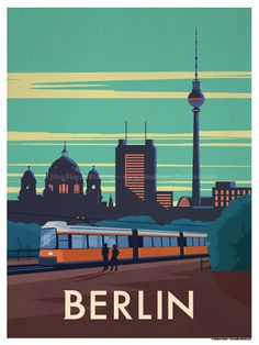 Vintage Travel Image of Berlin City Poster - Browse all products in the Travel Posters category from IdeaStorm Studio Store. Art Deco Posters, Cool Posters, Poster Prints, Art Print, City Poster, Berlin Travel, Berlin Art, Travel Illustration, Vintage Travel Posters