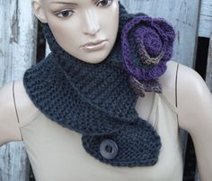 Knitt Scarf Capelet Woman's Shawl Graphite Purple Cape by Degra2