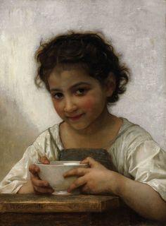 """""""La Soupe au Lait (Milk Soup)"""", 1874, William Adolphe Bouguereau. Art Experience NYC www.artexperiencenyc.com"""