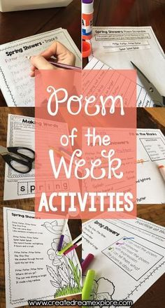 Check out these poem of the week activities for first, second and third grade. Tons of original poetry with a variety of activities to help build fluency and comprehension. Check out the free poem with activities. These are great for poetry stations, lite Teaching Poetry, Teaching Language Arts, Teaching Reading, Reading Resources, Teaching Ideas, Creative Teaching, Teaching English, Guided Reading, Reading Games