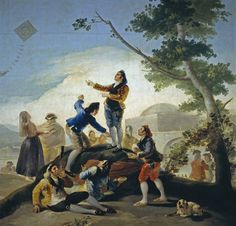 Francisco Goya, The Kite, Romanticism Spanish Painters, Spanish Artists, Francisco Goya Paintings, Jean Antoine Watteau, Francisco Jose, Art Database, Old Master, Art Pictures, Art History