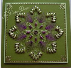 Cardmaking Online: Beads, Beads, Beads by Jan Rankine Hand Made Greeting Cards, Making Greeting Cards, Paper Cards, Diy Cards, Card Patterns, Stitch Patterns, Twine Crafts, String Art Tutorials, Embroidery Cards