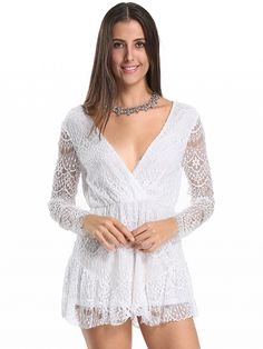 White Wrap V-neck Long Sleeve Lace Romper Playsuit: Lace fabric;Plunge… Dresses #Tops #Swimwear #Jeans #Jackets #Skirts #Shoes
