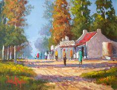 Willie Strydom - Shopping Day - 350 x 450 Landscape Art, Landscape Paintings, Oil Paintings, Landscapes, South African Artists, Africa Art, Gcse Art, City Art, Canada Travel
