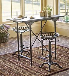 Vintage Bar Table And Tractor Seat Stool Set Plow Hearth