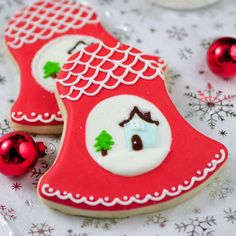 Haniela's: Christmas Bells with a Pretty Snowy Scene