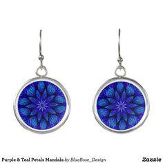 Purple & Teal Petals Mandala Earrings Purple Teal, Blue, Christmas Card Holders, Colorful Backgrounds, Crochet Earrings, Mandala, Perfume, Drop Earrings, Silver