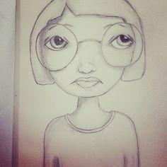 Sketch girl mixed media art journal
