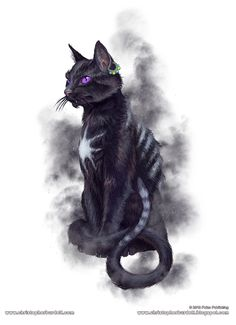 The Cat Sìth or Cat Sidhe is a fairy creature from Celtic mythology, said to resemble a large black cat with a white spot on its breast.