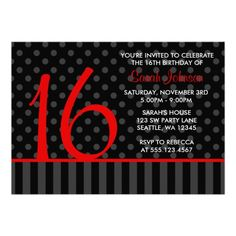 red and black things | Red and Black Polka Dot Stripes Sweet 16 Birthday Custom Invitations