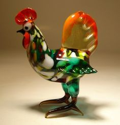 """Blown Glass """"Murano"""" Animal Art Figurine Bird ROOSTER Hen  -  this seller has beautifully colored roosters.       lj"""