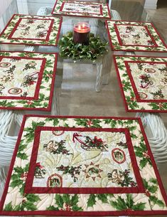 Holiday Placemats,Quilted Placemats, Christmas Placemats, R Christmas Placemats, Christmas Runner, Christmas Sewing, Christmas Table Decorations, Christmas Projects, Christmas Tables, Quilted Table Runners Christmas, Nordic Christmas, Coastal Christmas