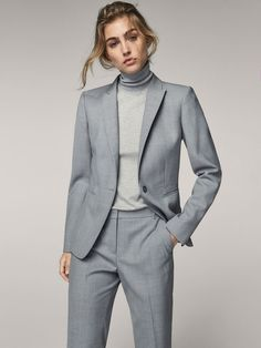 Fall Winter 2017 Women´s SLIM FIT GREY WOOL BLAZER at Massimo Dutti for 245. Effortless elegance!