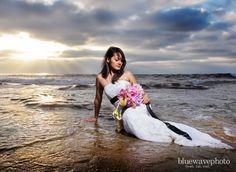beach wedding  trash the dress